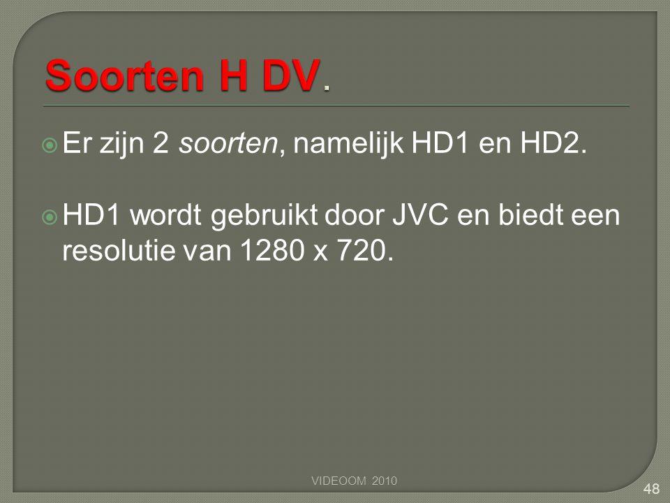 Soorten H DV. Er zijn 2 soorten, namelijk HD1 en HD2.