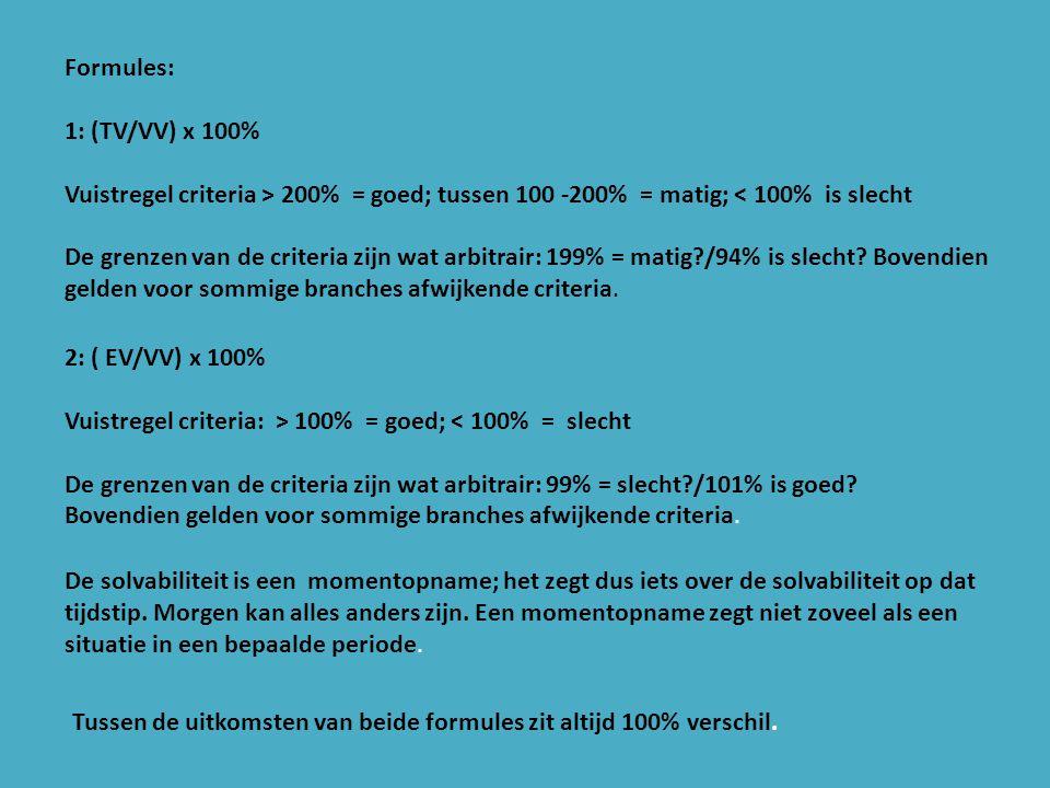 Formules: 1: (TV/VV) x 100% Vuistregel criteria > 200% = goed; tussen 100 -200% = matig; < 100% is slecht.