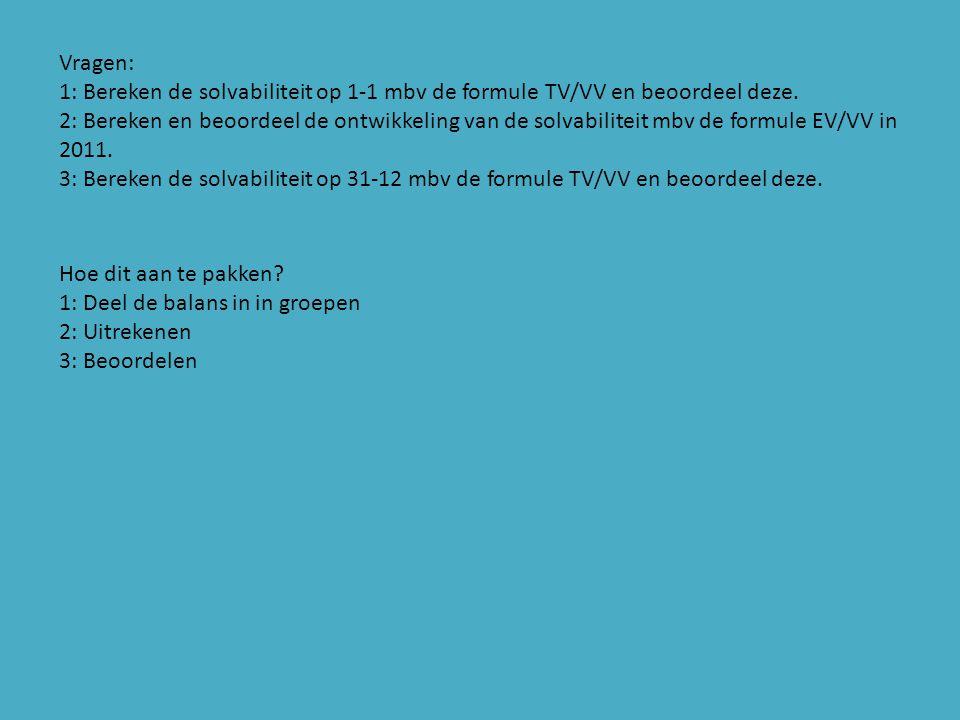 Vragen: 1: Bereken de solvabiliteit op 1-1 mbv de formule TV/VV en beoordeel deze.