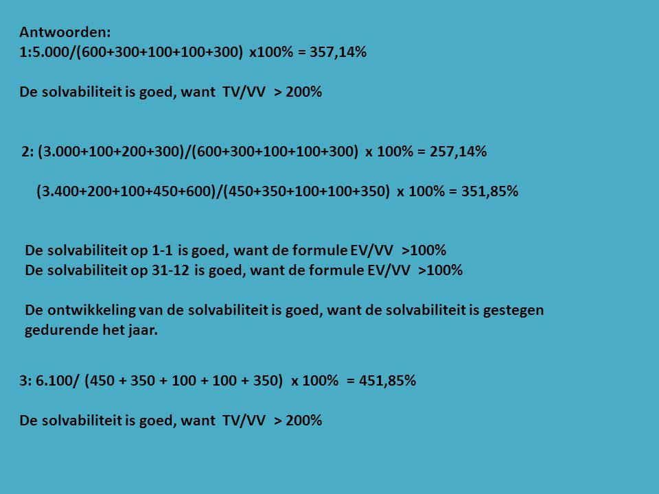 Antwoorden: 1:5.000/(600+300+100+100+300) x100% = 357,14% De solvabiliteit is goed, want TV/VV > 200%
