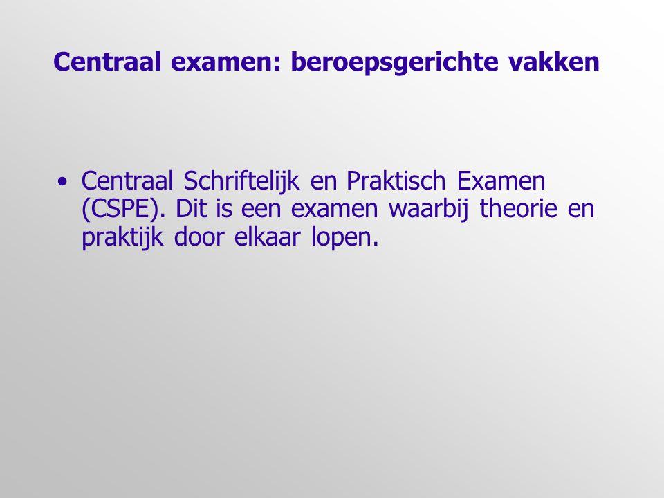 Centraal examen: beroepsgerichte vakken