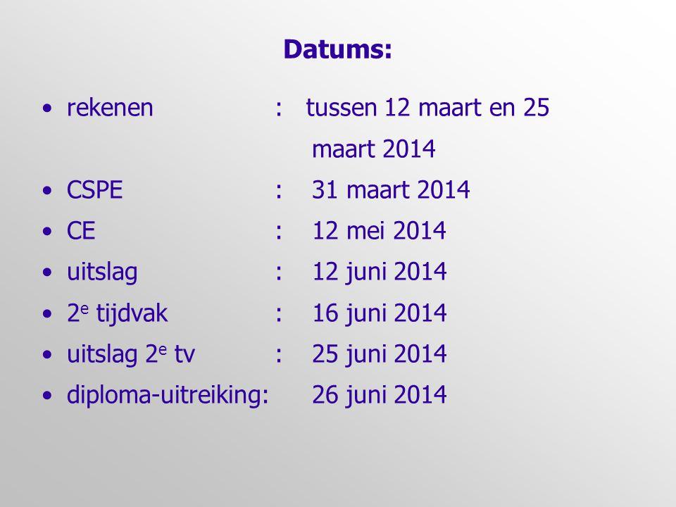 Datums: rekenen : tussen 12 maart en 25 maart 2014