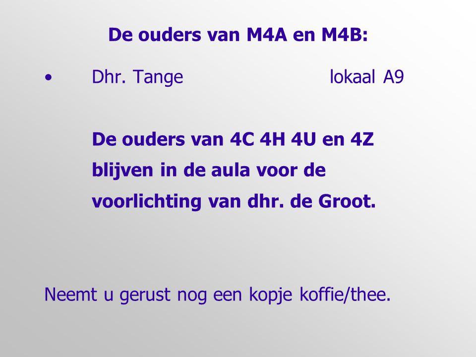 De ouders van M4A en M4B: Dhr. Tange lokaal A9. De ouders van 4C 4H 4U en 4Z. blijven in de aula voor de.