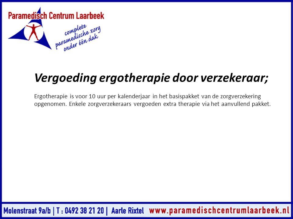 Vergoeding ergotherapie door verzekeraar;