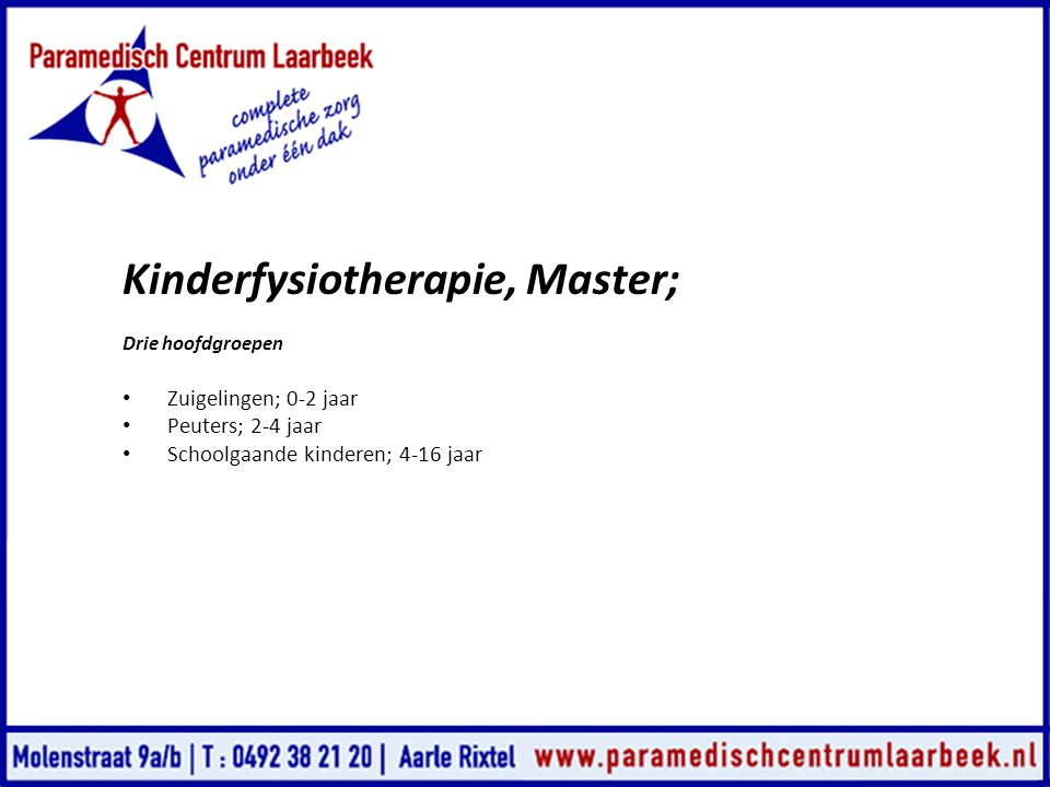 Kinderfysiotherapie, Master;