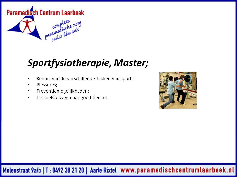 Sportfysiotherapie, Master;