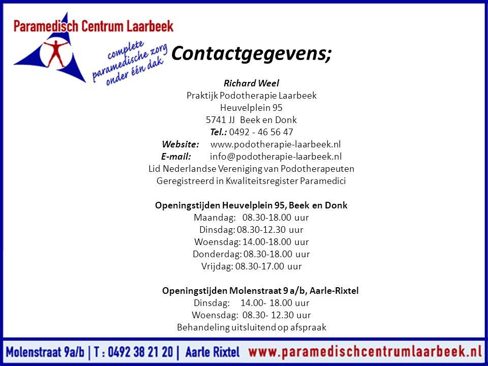 Contactgegevens; Richard Weel Praktijk Podotherapie Laarbeek