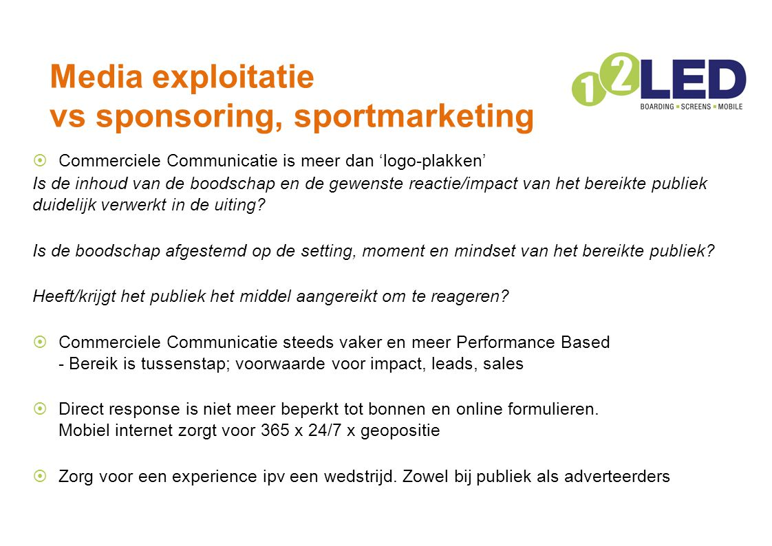 Media exploitatie vs sponsoring, sportmarketing