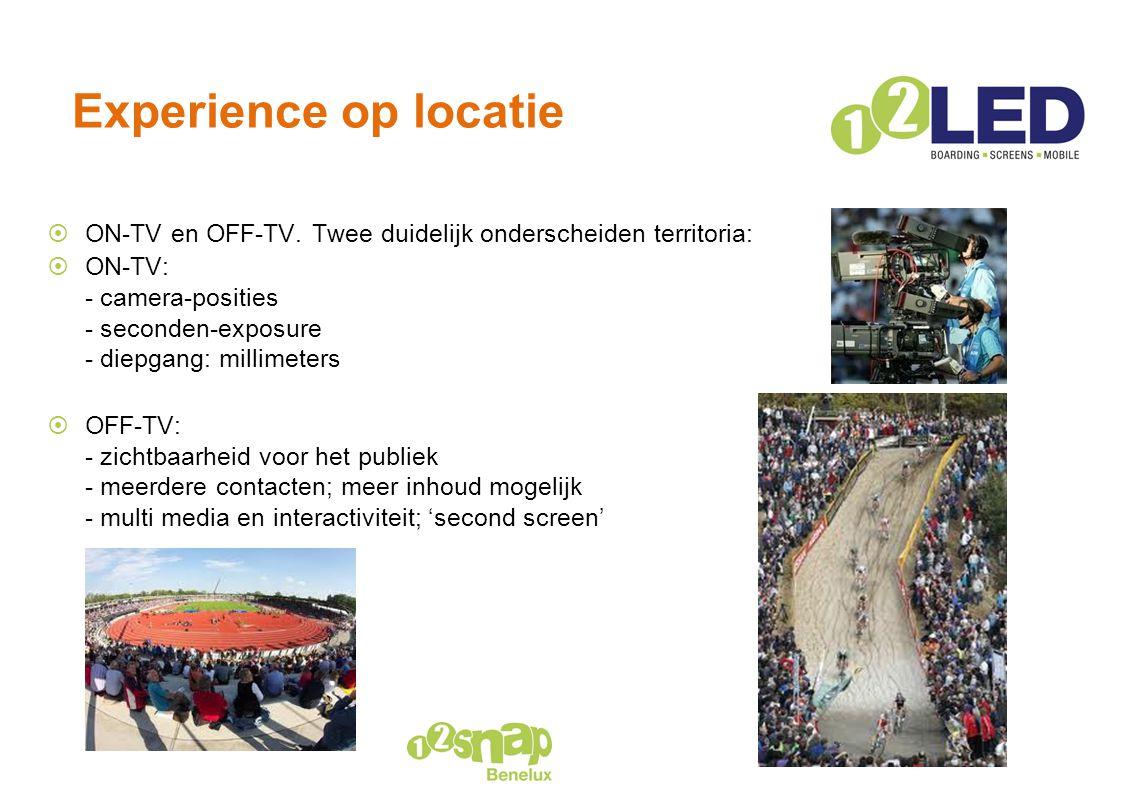 Experience op locatie ON-TV en OFF-TV. Twee duidelijk onderscheiden territoria:
