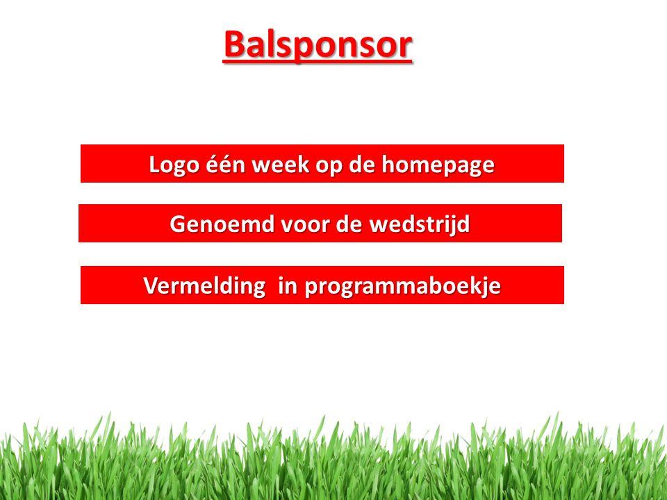 Balsponsor Logo één week op de homepage Genoemd voor de wedstrijd
