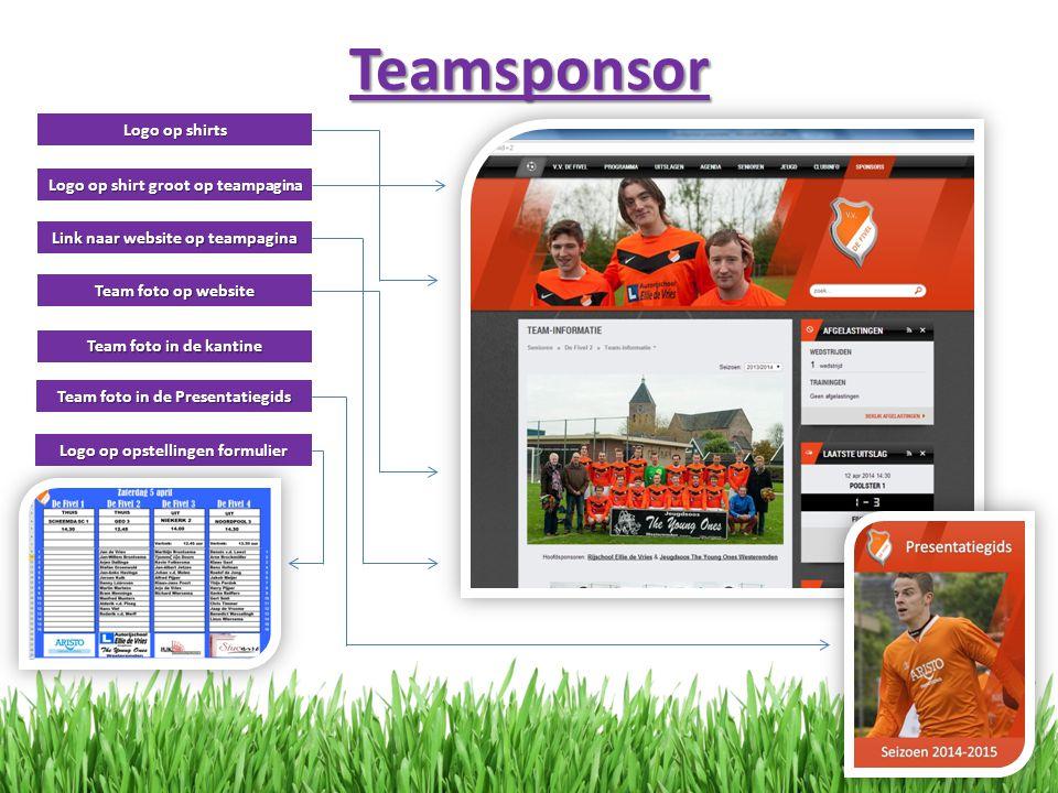 Teamsponsor Logo op shirts Logo op shirt groot op teampagina