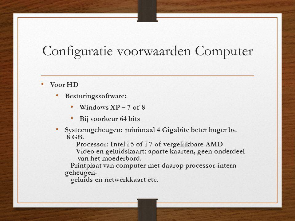 Configuratie voorwaarden Computer