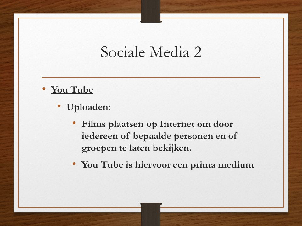 Sociale Media 2 You Tube Uploaden: