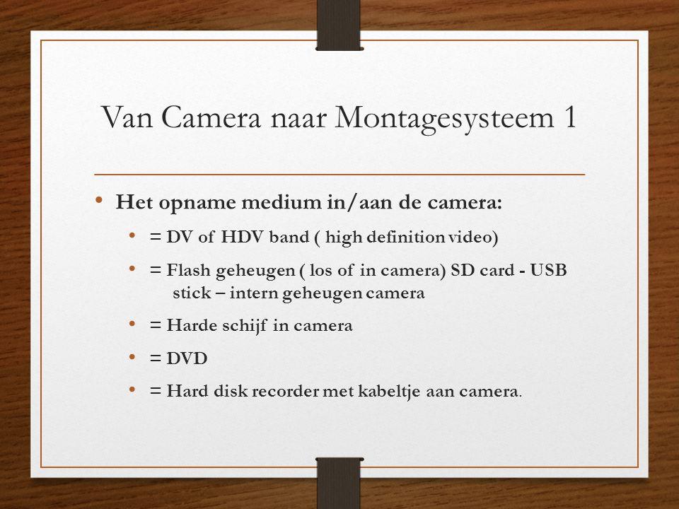 Van Camera naar Montagesysteem 1