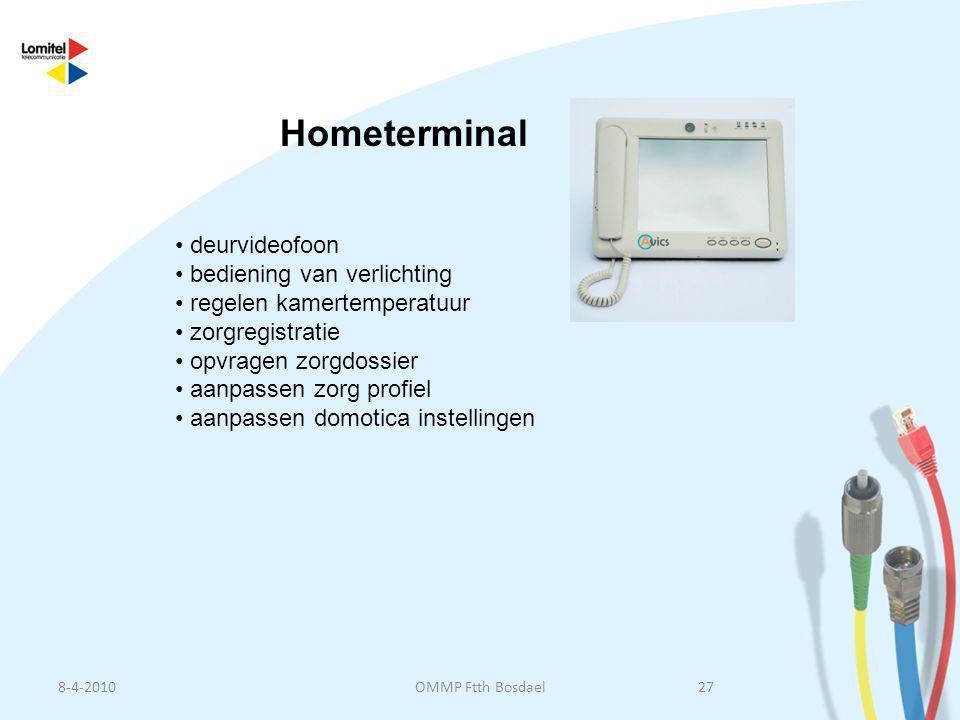 Hometerminal deurvideofoon bediening van verlichting