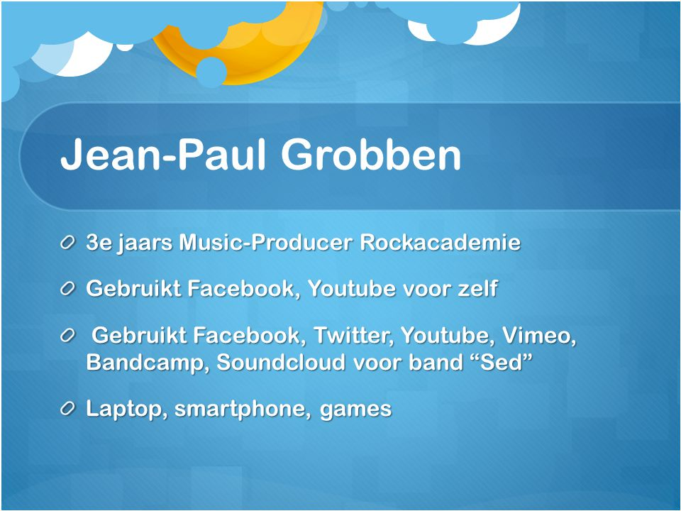 Jean-Paul Grobben 3e jaars Music-Producer Rockacademie