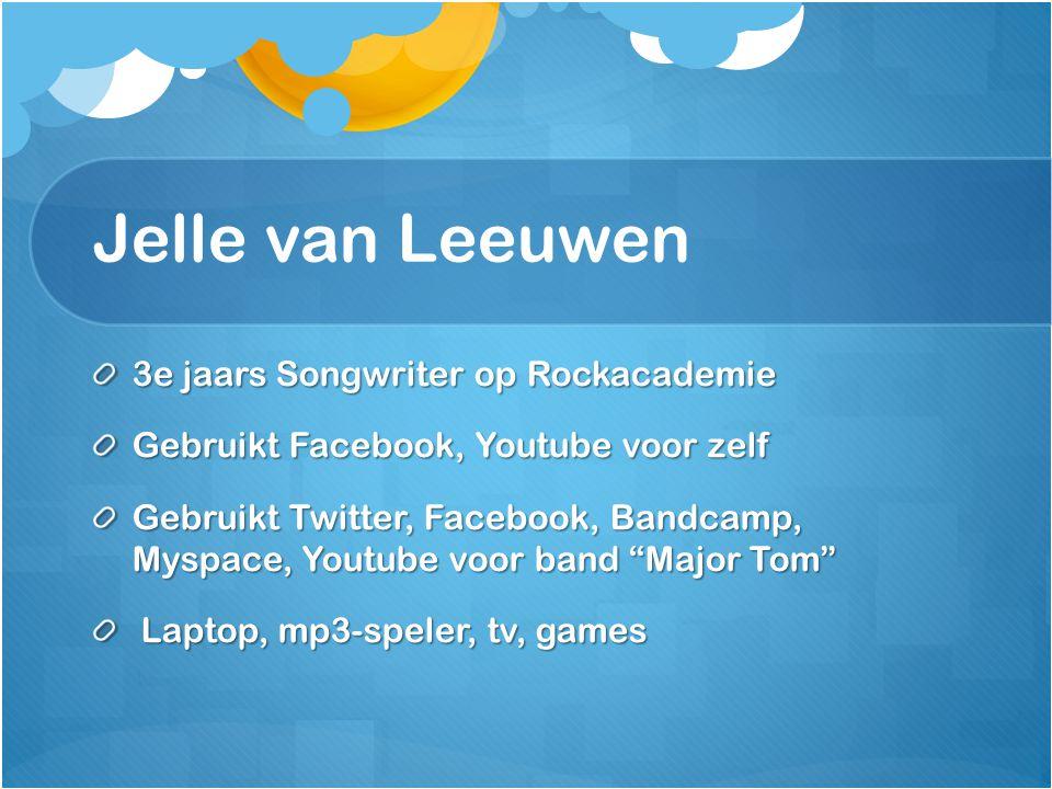 Jelle van Leeuwen 3e jaars Songwriter op Rockacademie
