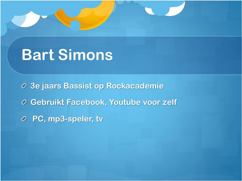 Bart Simons 3e jaars Bassist op Rockacademie