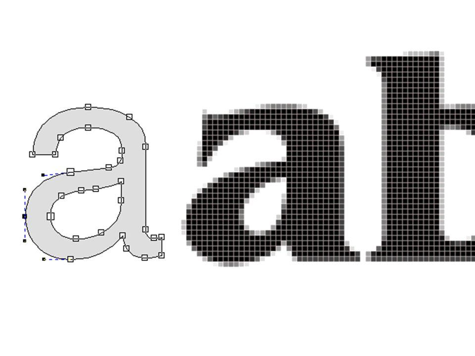 Naar digitale type in vectoren of pixels/ bitmaps