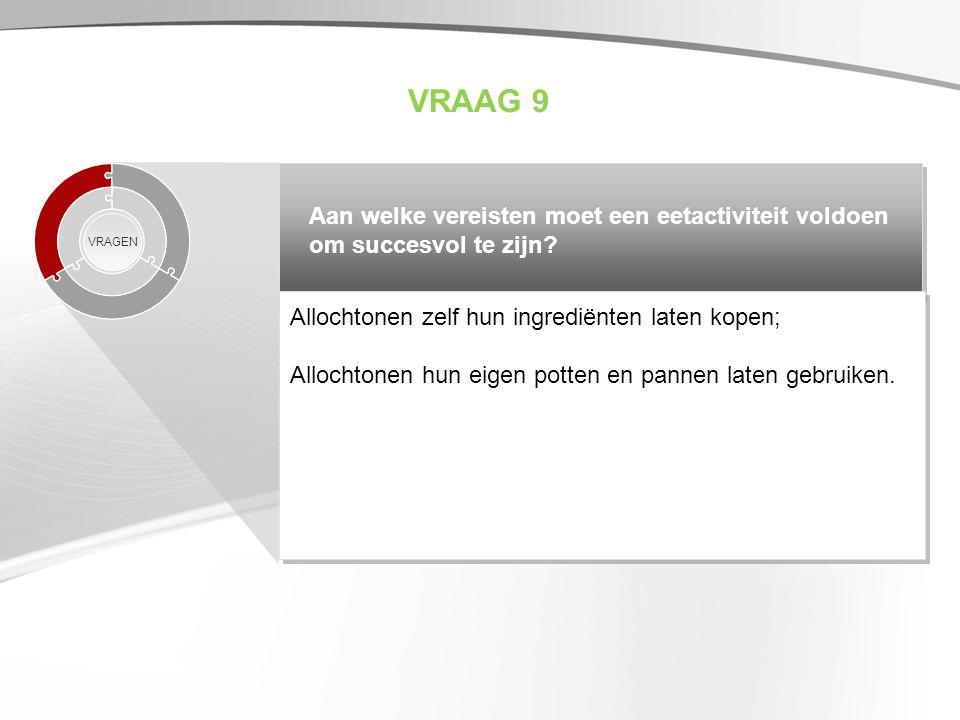VRAAG 9 Aan welke vereisten moet een eetactiviteit voldoen om succesvol te zijn VRAGEN. Allochtonen zelf hun ingrediënten laten kopen;