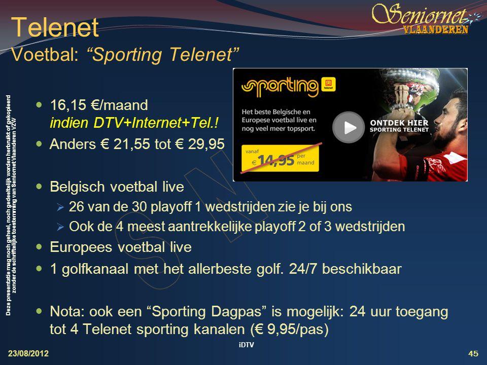 Telenet Voetbal: Sporting Telenet