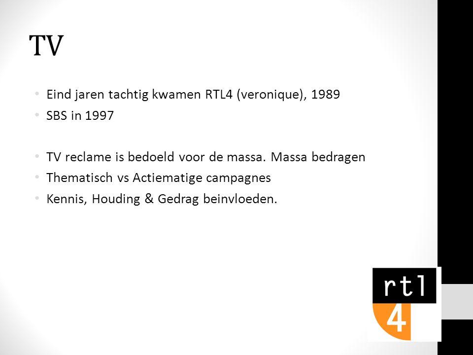 TV Eind jaren tachtig kwamen RTL4 (veronique), 1989 SBS in 1997