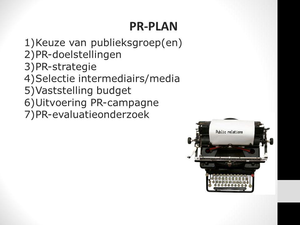 PR-PLAN Keuze van publieksgroep(en) PR-doelstellingen PR-strategie