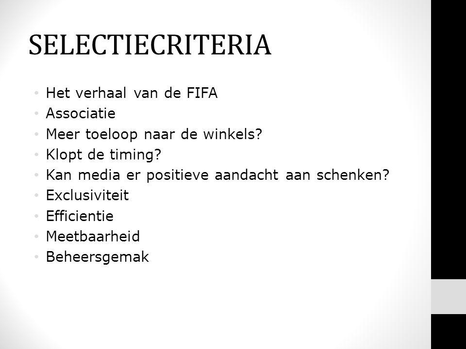 SELECTIECRITERIA Het verhaal van de FIFA Associatie