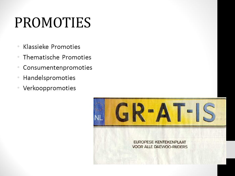 PROMOTIES Klassieke Promoties Thematische Promoties