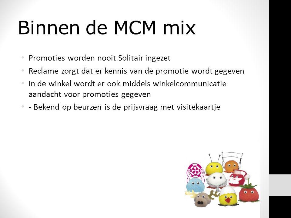 Binnen de MCM mix Promoties worden nooit Solitair ingezet