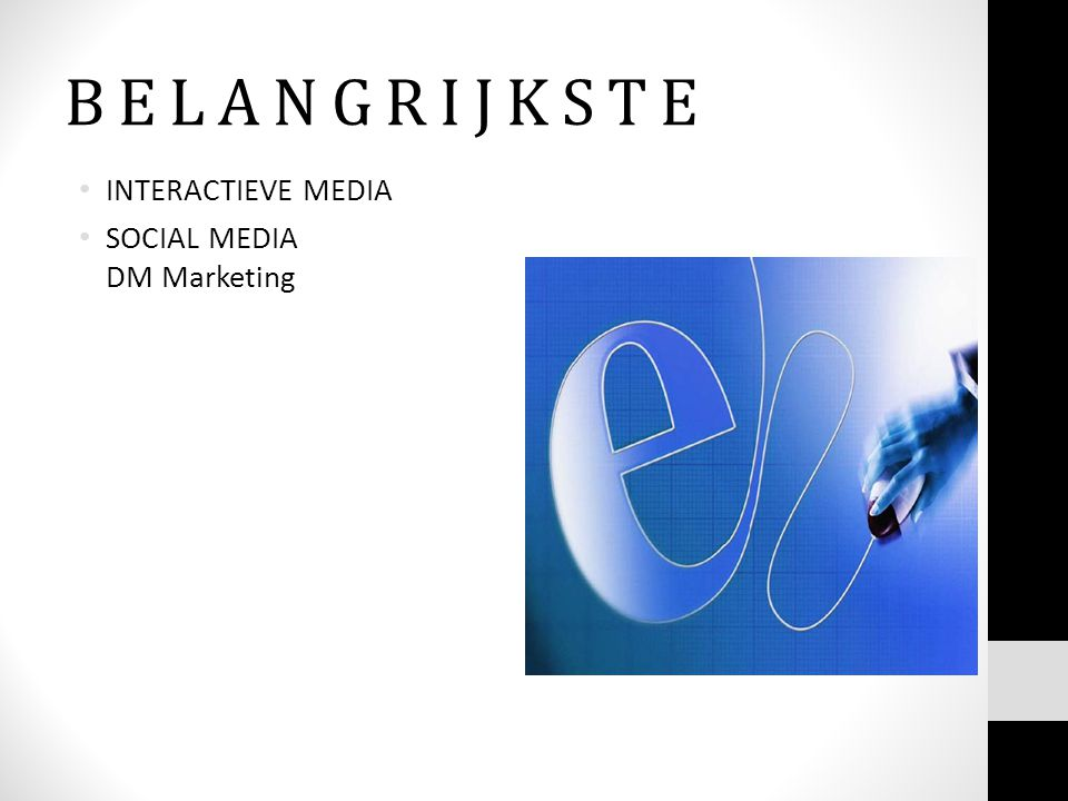 B E L A N G R I J K S T E INTERACTIEVE MEDIA SOCIAL MEDIA DM Marketing