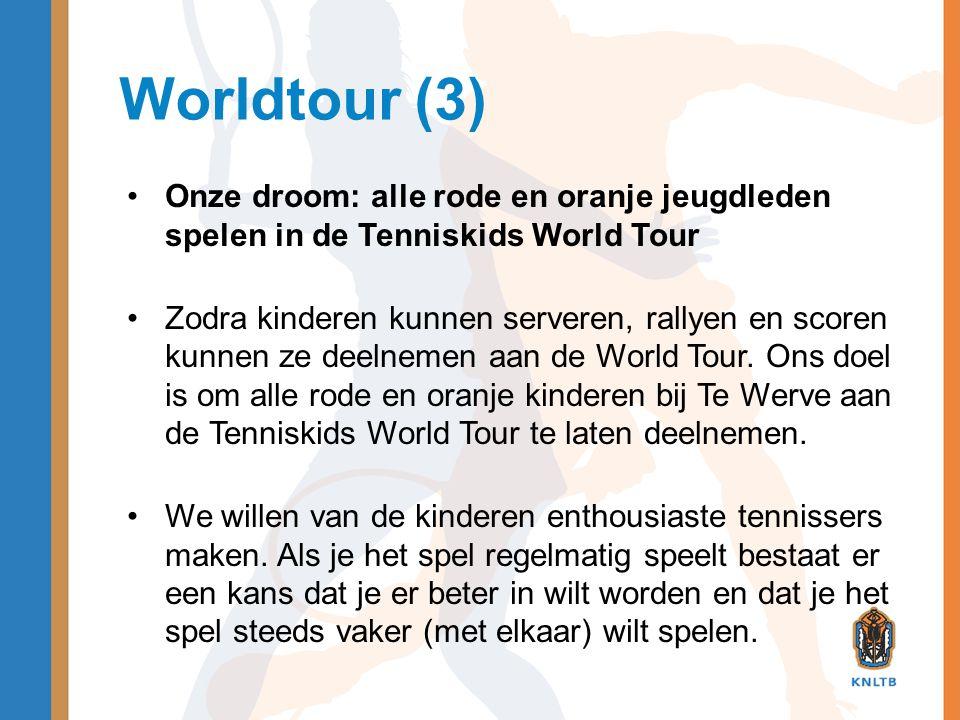 Worldtour (3) Onze droom: alle rode en oranje jeugdleden spelen in de Tenniskids World Tour.