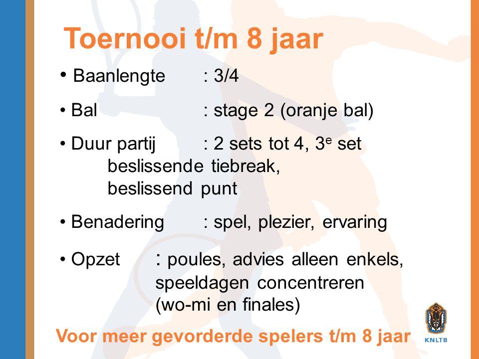Toernooi t/m 8 jaar Baanlengte : 3/4 Bal : stage 2 (oranje bal)