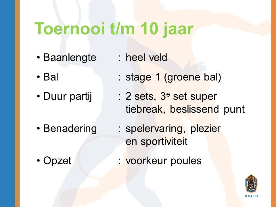 Toernooi t/m 10 jaar Baanlengte : heel veld Bal : stage 1 (groene bal)