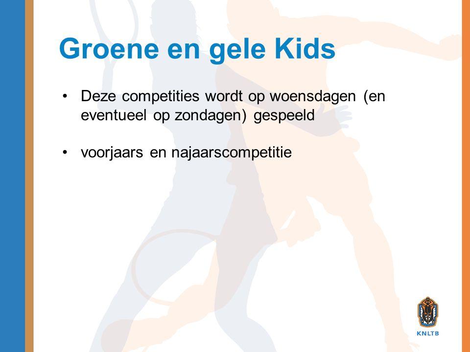 Groene en gele Kids Deze competities wordt op woensdagen (en eventueel op zondagen) gespeeld.