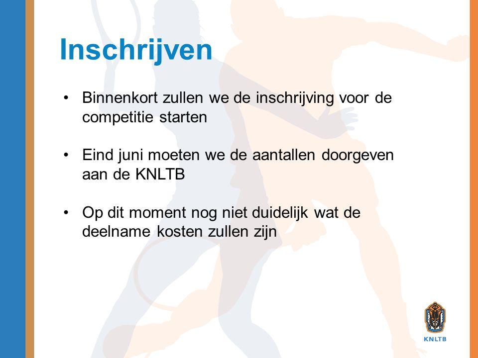 Inschrijven Binnenkort zullen we de inschrijving voor de competitie starten. Eind juni moeten we de aantallen doorgeven aan de KNLTB.