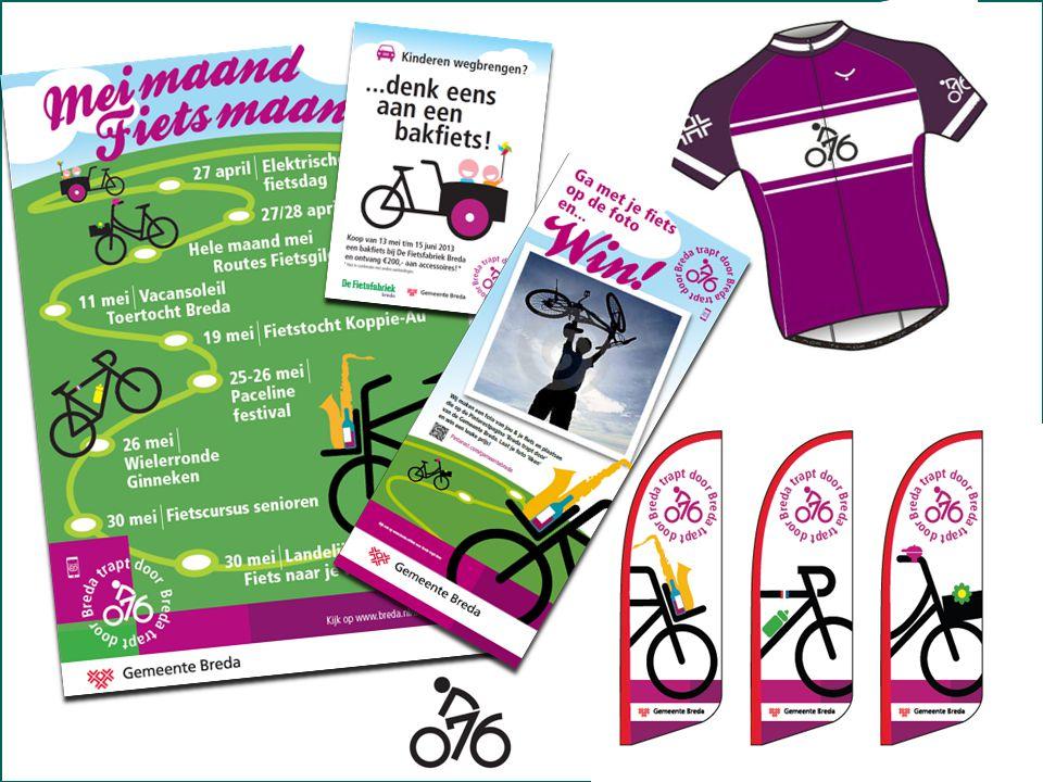 Mei-maand fietsmaand Wielerkleding. Uitingen voor evenementen beschikbaar stellen. Acties met lokale ondernemers.