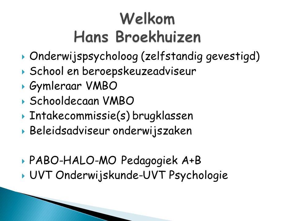 Welkom Hans Broekhuizen