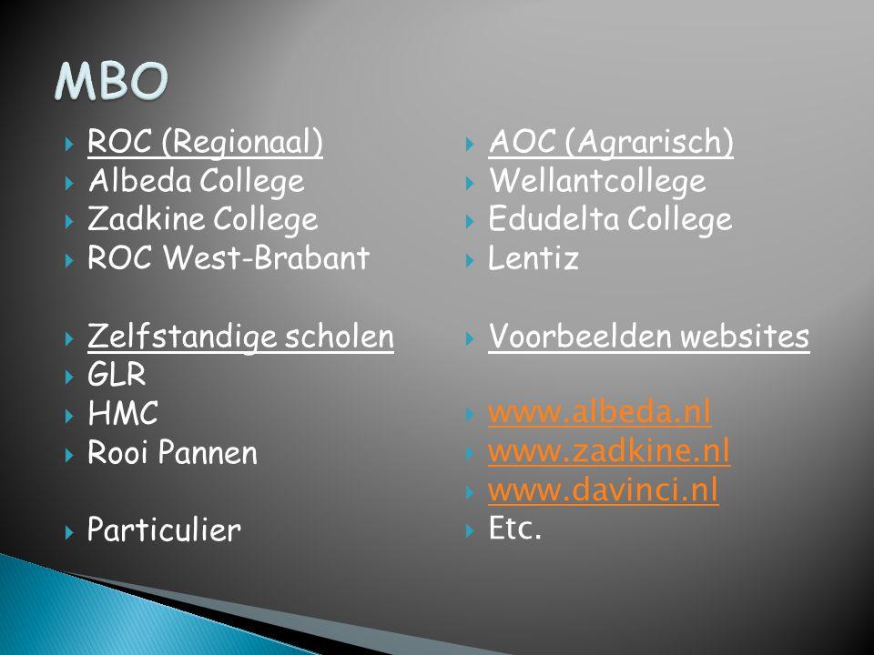 MBO ROC (Regionaal) Albeda College Zadkine College ROC West-Brabant