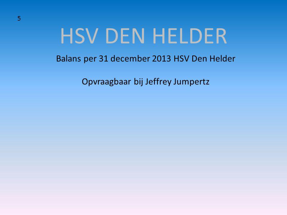 HSV DEN HELDER Balans per 31 december 2013 HSV Den Helder