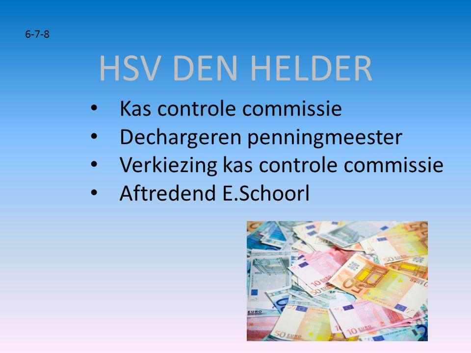 HSV DEN HELDER Kas controle commissie Dechargeren penningmeester