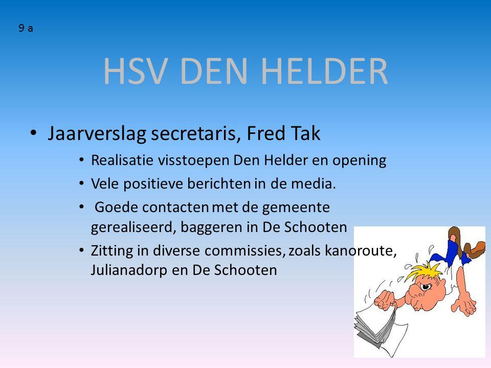 HSV DEN HELDER Jaarverslag secretaris, Fred Tak