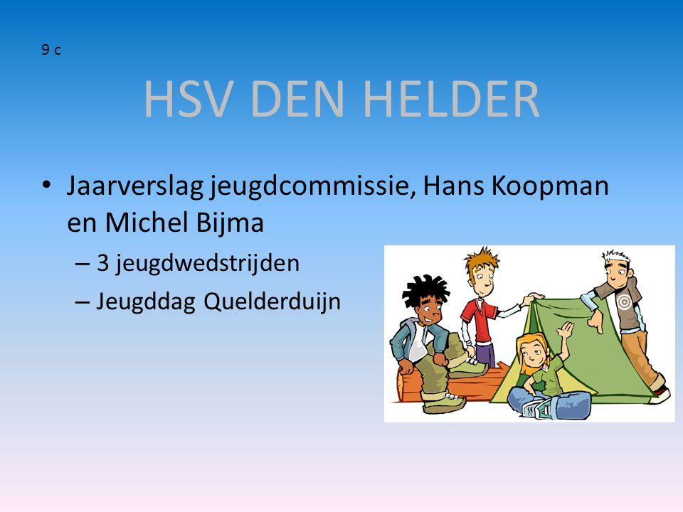HSV DEN HELDER 9 c. Jaarverslag jeugdcommissie, Hans Koopman en Michel Bijma. 3 jeugdwedstrijden.