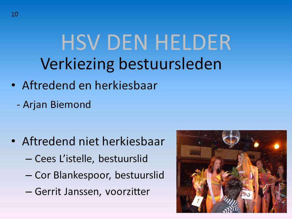 HSV DEN HELDER Verkiezing bestuursleden Aftredend en herkiesbaar