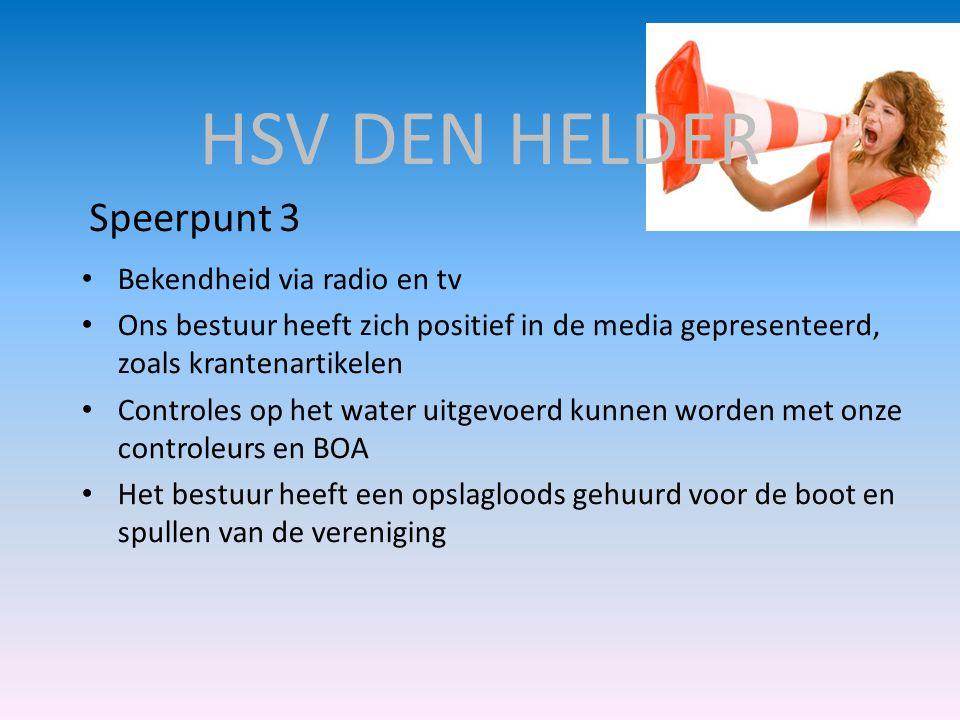 HSV DEN HELDER Speerpunt 3 Bekendheid via radio en tv