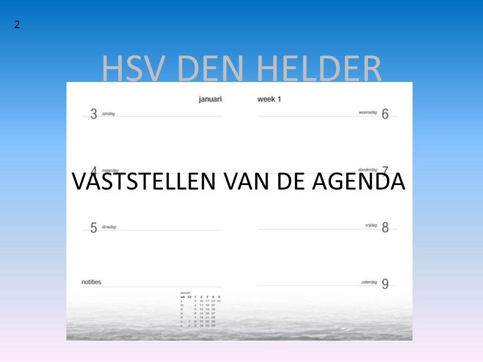 2 HSV DEN HELDER VASTSTELLEN VAN DE AGENDA