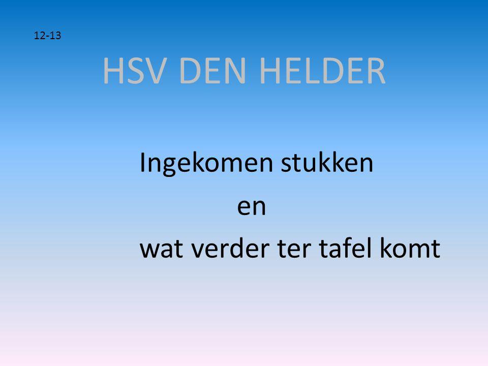 HSV DEN HELDER 12-13 Ingekomen stukken en wat verder ter tafel komt