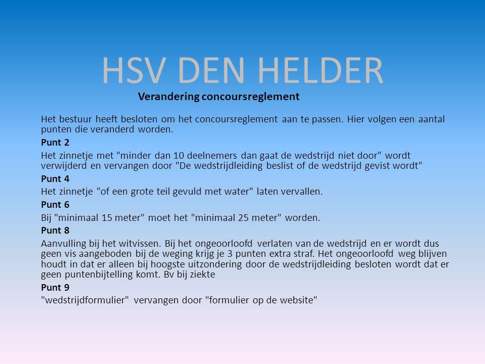 HSV DEN HELDER Verandering concoursreglement.