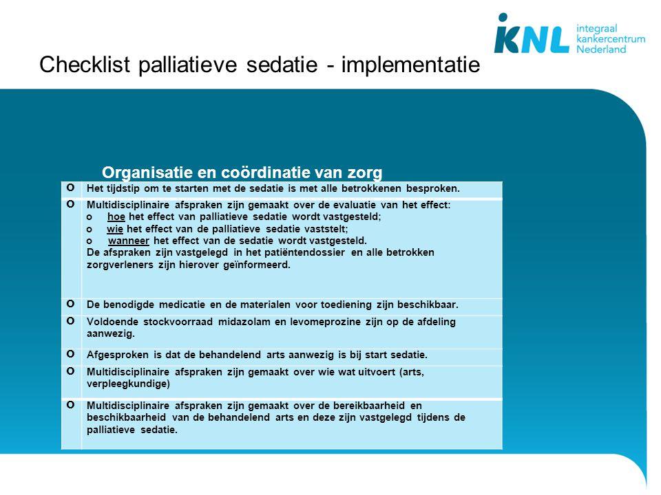 Checklist palliatieve sedatie - implementatie