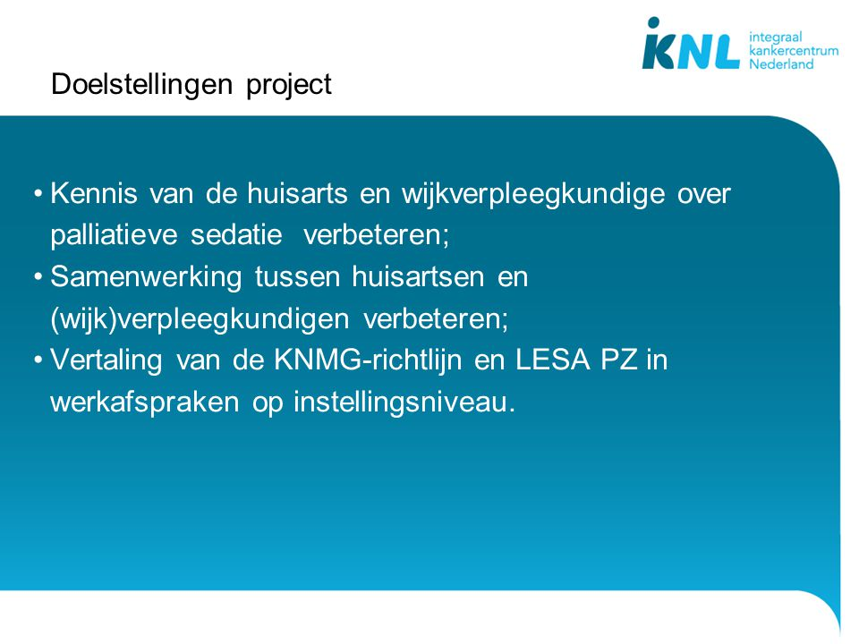 Doelstellingen project